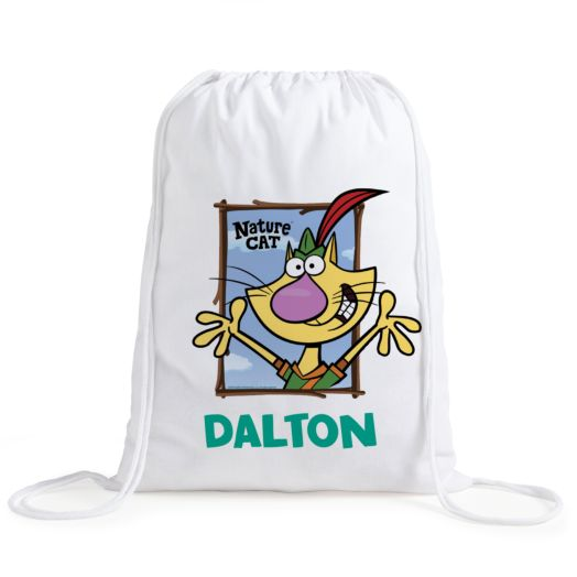 Nature Cat Personalized Drawstring Bag
