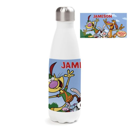Nature Cat Personalized Stainless Steel Water Bottle