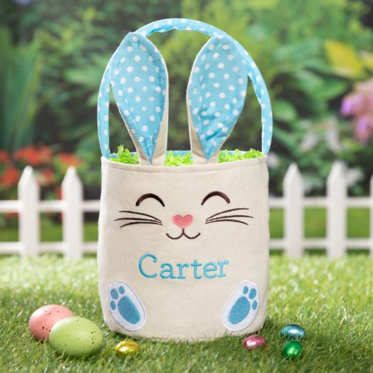 Personalized Blue Bunny Bucket Bags