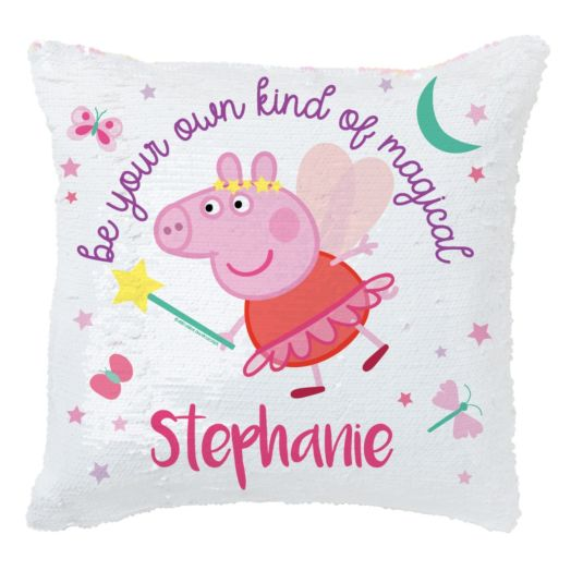 Peppa Pig Be Magical Personalized Sequin Throw Pillow