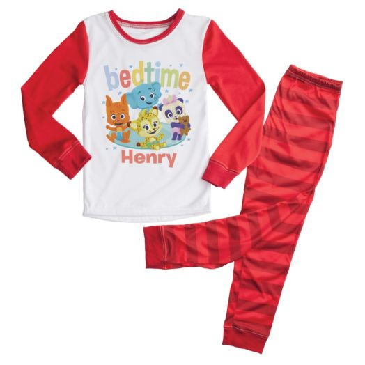 Word Party Bedtime Personalized Red Toddler Pajamas