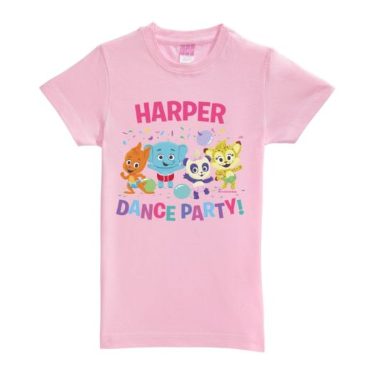 Word Party Dance Party Personalized Pink Fitted Tee