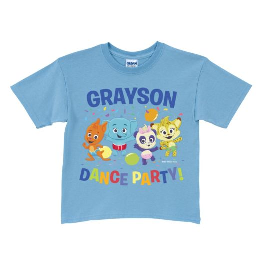 Word Party Dance Party Personalized Light Blue T-Shirt