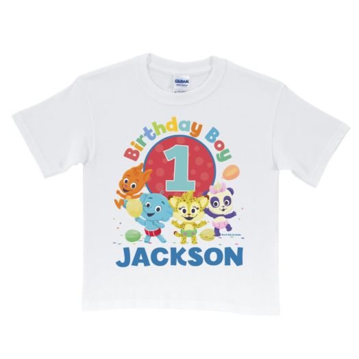 Word Party Birthday Boy Personalized White T-Shirt