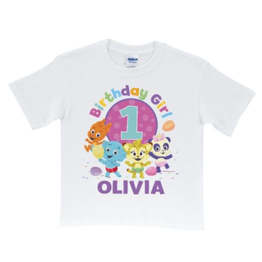 Word Party Birthday Girl Personalized White T-Shirt