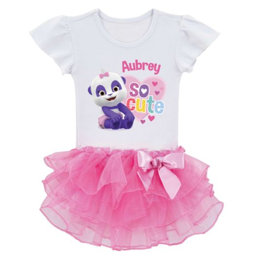 Word Party So Cute Personalized  Pink Tutu Tee