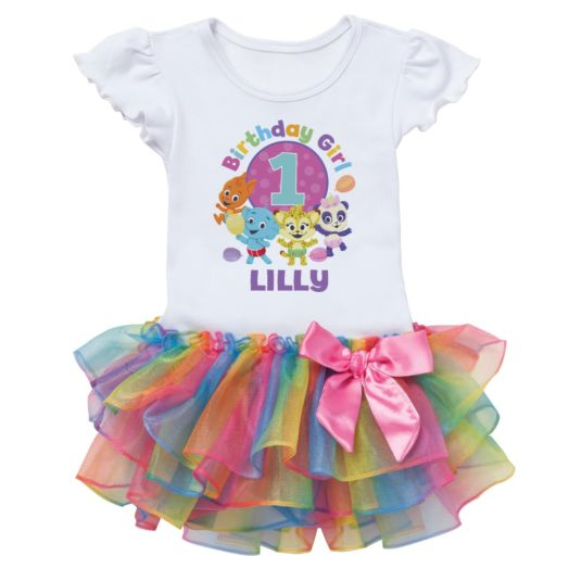 Word Party Birthday Girl Personalized Rainbow Tutu Tee