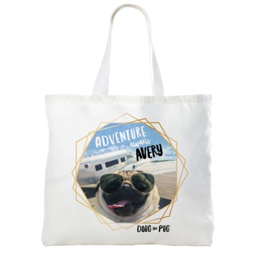 Doug The Pug Adventure Awaits Personalized Tote Bag