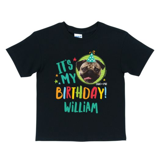 Doug The Pug It's My Birthday Personalized Black T-Shirt