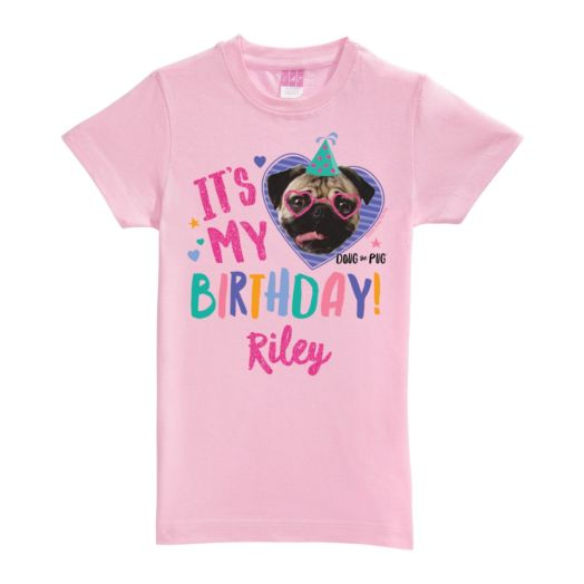 Doug The Pug It's My Birthday Personalized Pink Fitted Tee