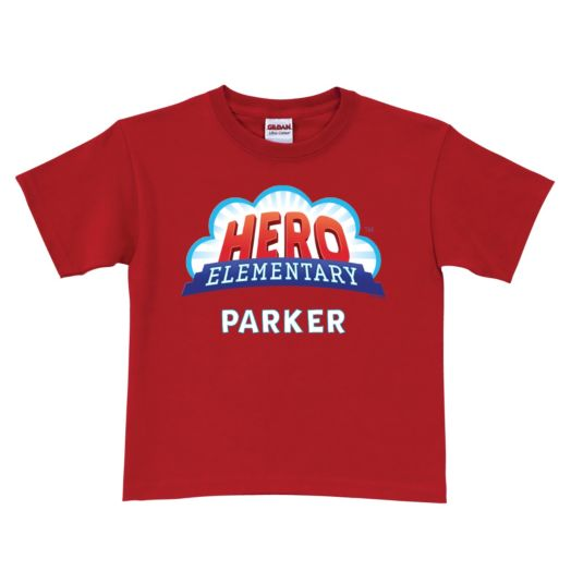 Hero Elementary Personalized Red Youth T-Shirt