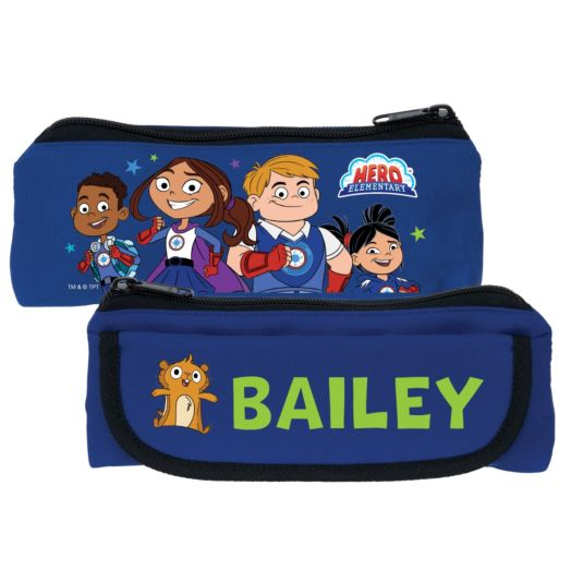 Hero Elementary Personalized Blue Pencil Case