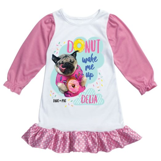 Doug The Pug Donut Wake Me Up Personalized Nightgown