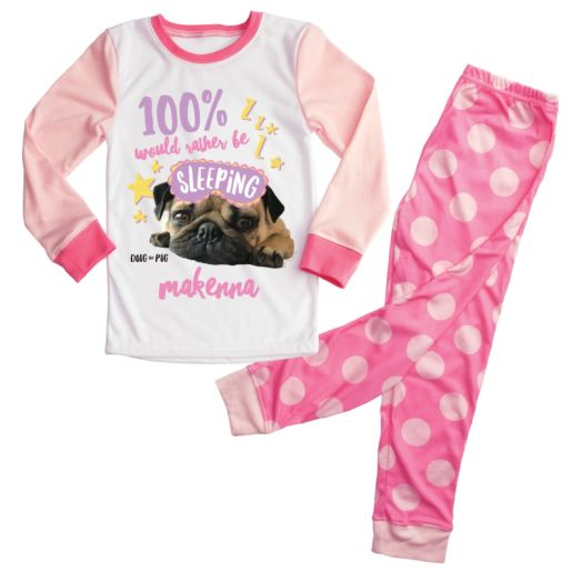 Doug The Pug Would Rather Be Sleeping Personalized Pink Pajamas