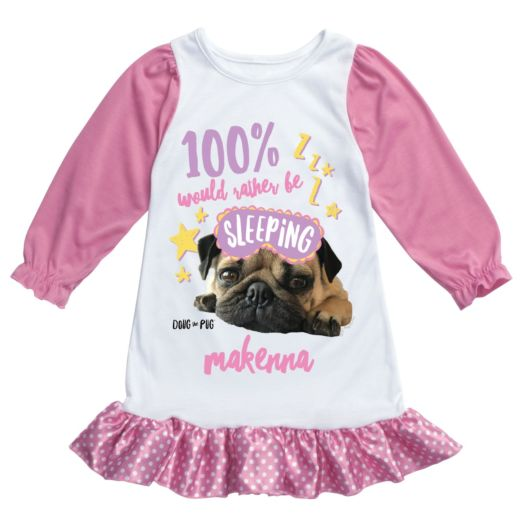 Doug The Pug Would Rather Be Sleeping Personalized Nightgown