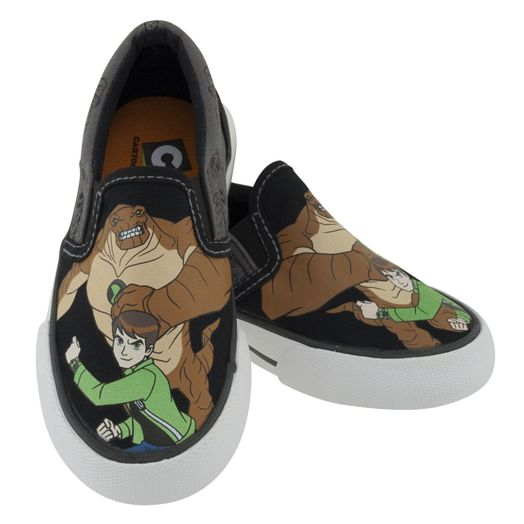 Ben 10 Black & Gray Canvas Slip-On Shoes