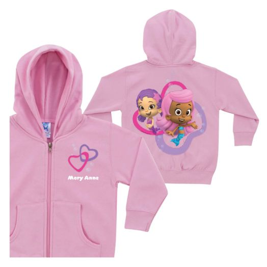 Bubble Guppies Girls Pink Zip-Up Hoodie