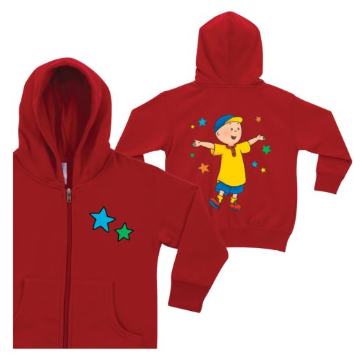 Caillou and Stars Red Zip-up Hoodie