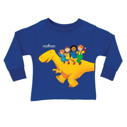 Caillou Dinosaur Ride Long Sleeve Tee