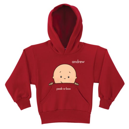 Caillou Peek-A-Boo Red Youth Hoodie
