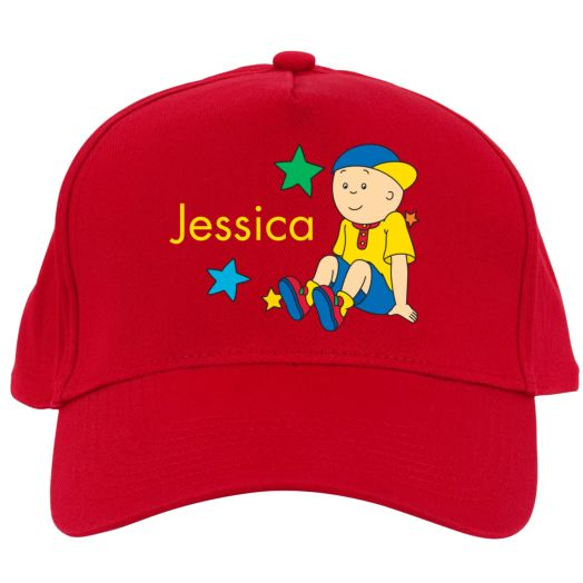 Caillou Sitting in the Stars Red Baseball Cap