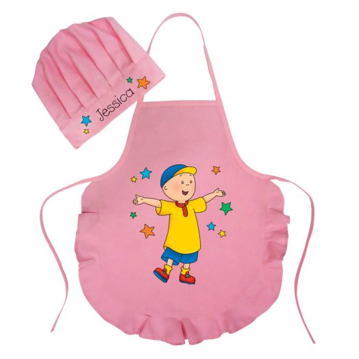 Caillou & Stars Pink Youth Apron & Chef Hat