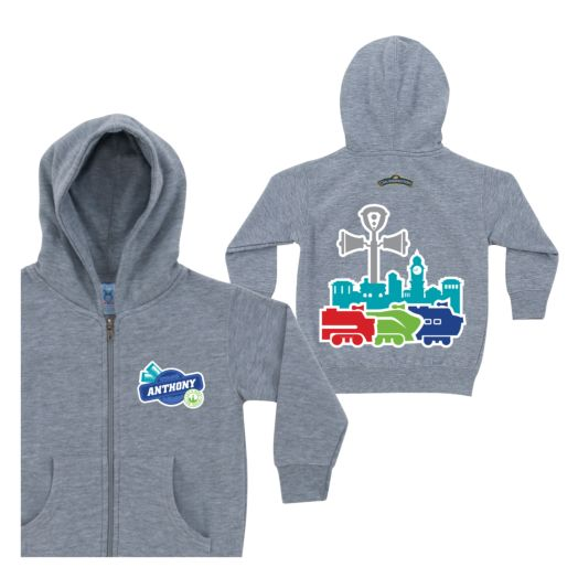 Chuggington Colored Silhouette Gray Zip-up Hoodie