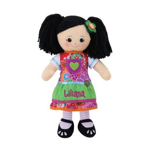 Personalized Asian Doll with Green Apron Dress and Hair Clip
