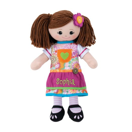 Personalized Brunette Doll with Pink Apron Dress and Hair Clip