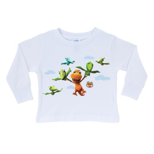 Dinosaur Train Buddy Can Fly White Long Sleeve T-Shirt