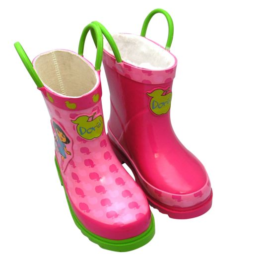 Dora the Explorer Pink Infant Rainboots with Plush Lining