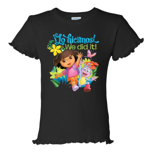 Dora the Explorer We Did It Black Ruffle Tee