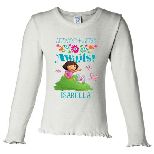 Dora the Explorer Adventure Awaits White Long Sleeve Ruffle Tee