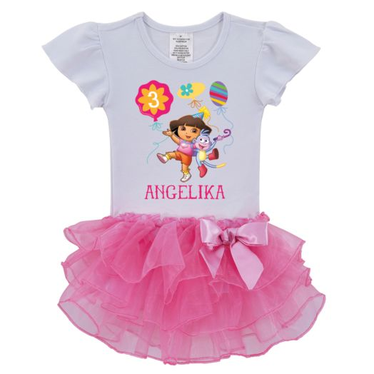 Dora the Explorer Birthday Balloons Tutu Tee