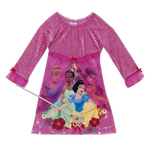Disney Princess Girls' Jeweled Nightgown with Wand