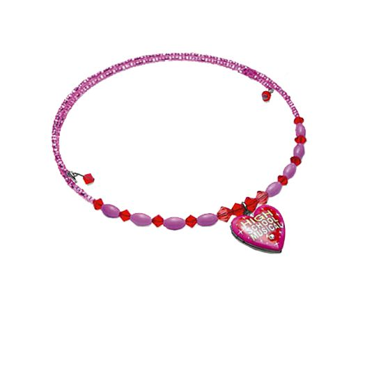 High School Musical Pink Bead Choker with Locket