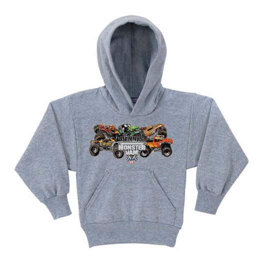 Monster Jam Pile-Up Gray Hoodie