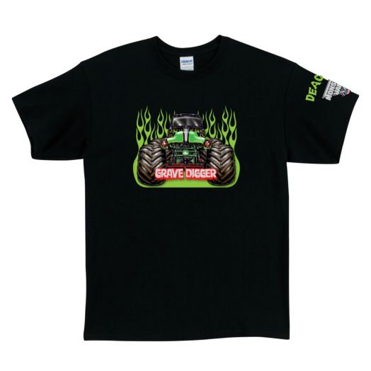 Monster Jam Grave Digger Black Adult T-Shirt