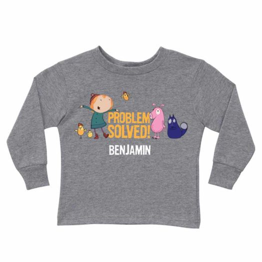 Peg + Cat Problem Solved Group Gray Long Sleeve Tee