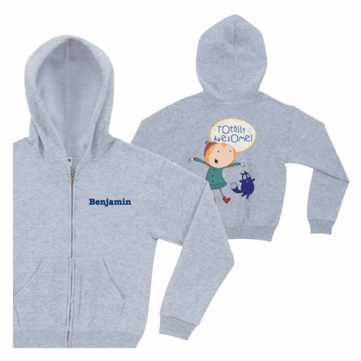 Peg + Cat Totally Awesome Gray Zip-Up Hoodie