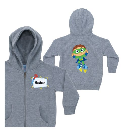 Super Why Ready, Set, Zap! Gray Zip-Up Hoodie