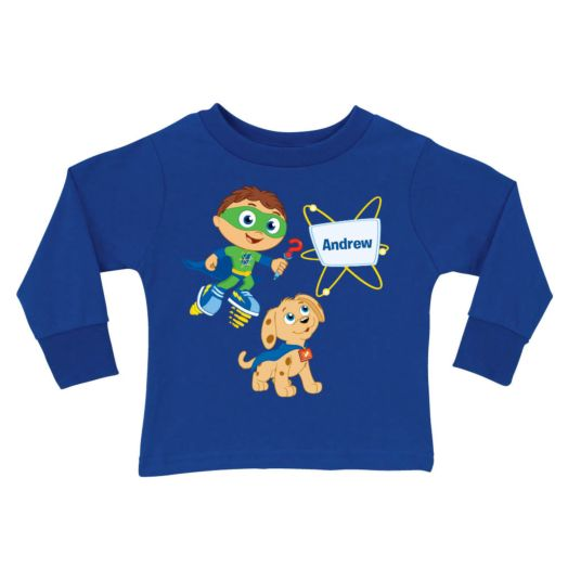 Super Why & Woofster Bark-a-rooney! Royal Blue Long Sleeve Tee